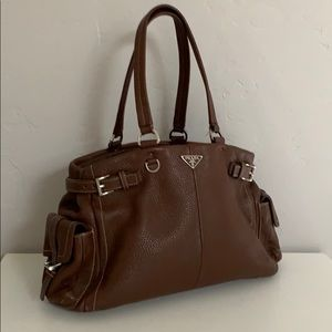 Auth Prada Brown Pebble Leather Shoulder Bag